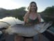 Angler shares top muskie baits for catching giant muskie. Female angler catches a big tiger muskie. Top female angler