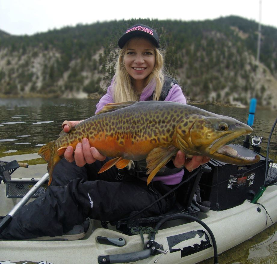 Tiger trout caught by girl fishing in a Hobie Kayak